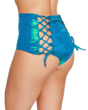 Holographic Turquoise Back Lace High Waist Shorts