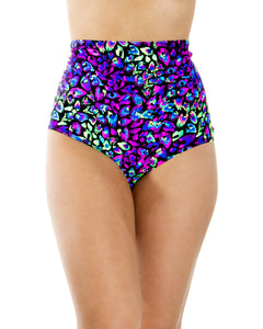 Midnight Disco Purple Back Lace High Waist Shorts