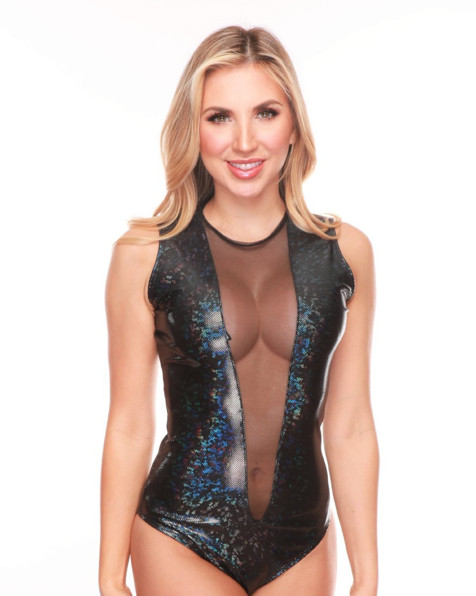 Disco Black Front Mesh Panel Bodysuit