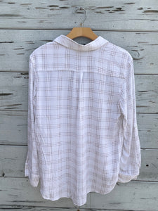 Miniture Check Button Front Shirt White