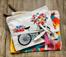 Canvas Cosmetic Pouch Set Vintage Bicycle