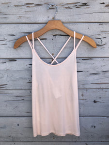 Cross Back Tank Pastel Pink