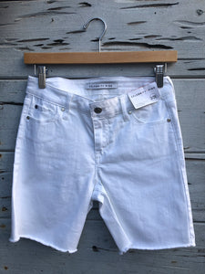 Frayed Denim Bermuda Short White
