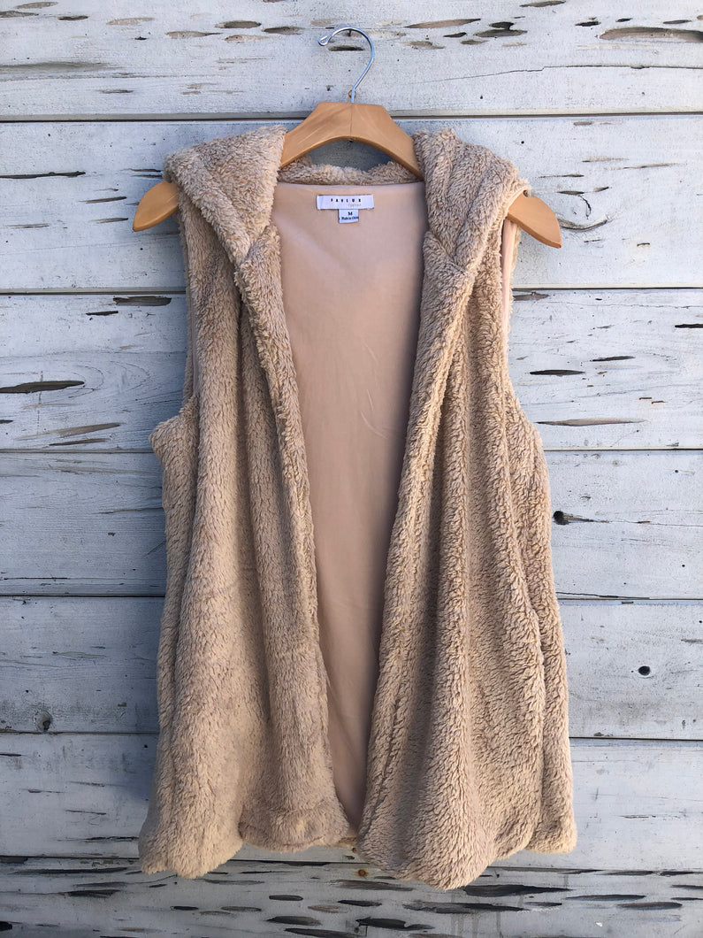 Teddy Faux Fur Vest Camel