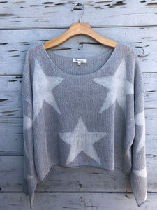 Starry Night Cropped Pullover Silver