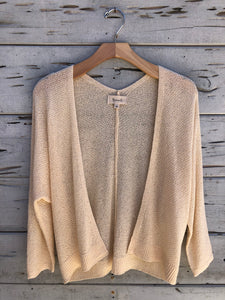 Textured Open Front Summer Cardigan Cream