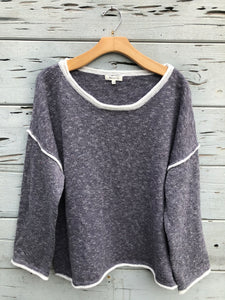 Rolled Neck Oversize Pullover Sweater Charcoal