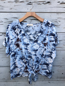 Rianna Tie Dye Knotted Top Blue