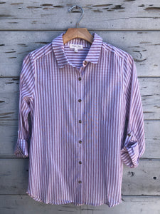Classic Stripe Button Front Shirt Red