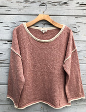 Rolled Neck Oversize Pullover Sweater Marsala