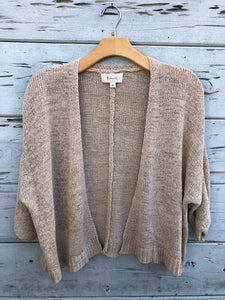 Open Front Woven Cardigan Stone