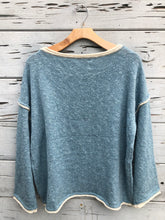 Rolled Neck Oversize Pullover Sweater Blue Foam