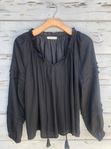 La La Flowy Satin Blouse Black