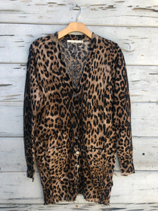 Long Button Front Cardigan Leopard