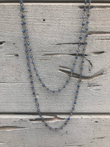 Beaded Wrap Necklace Mediterranean Blue