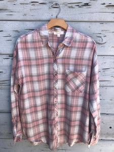 Softest Plaid Boyfriend Shirt Blush
