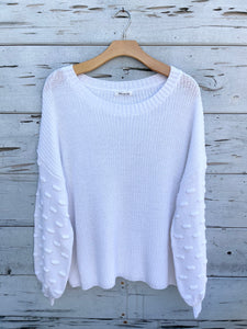 Bubble Sleeve Pullover Sweater White