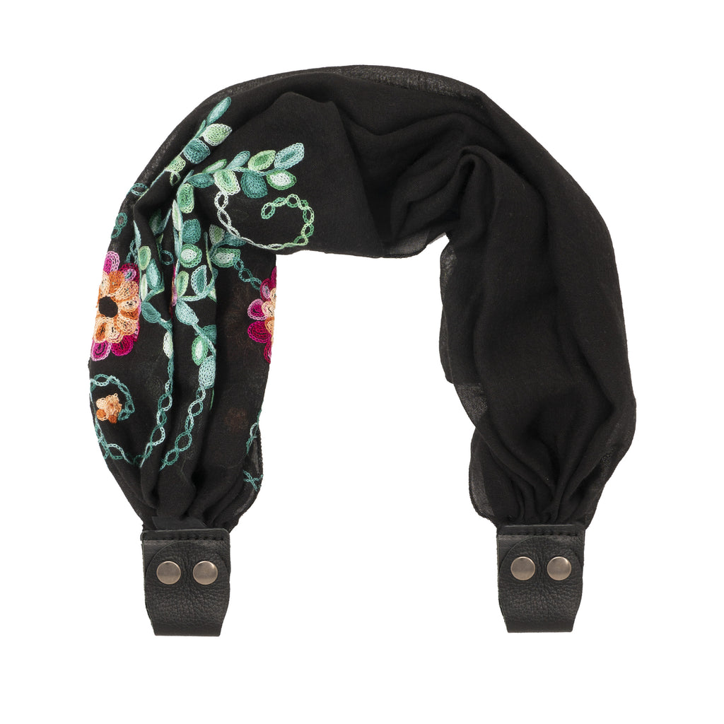 Scarf Strap for Sash Bags - Black Embroidered Flowers Asymmetrical