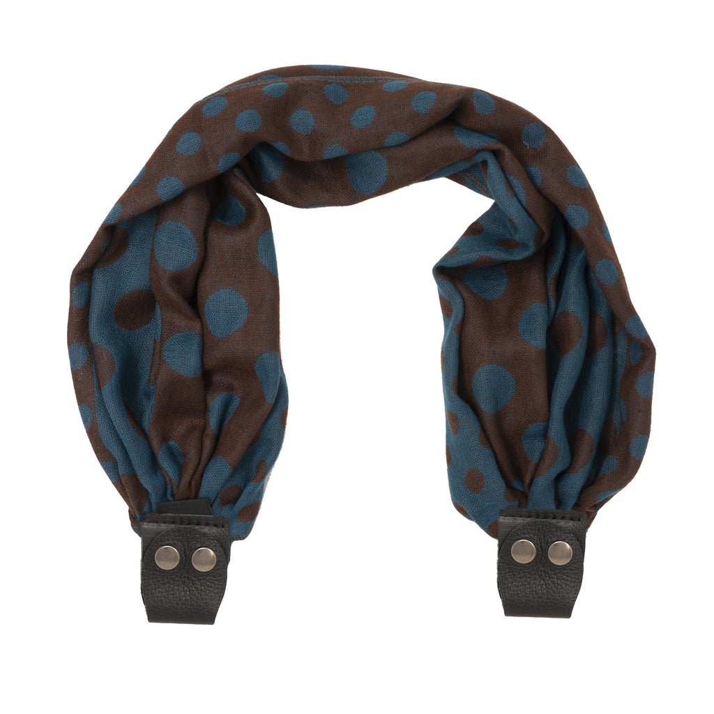Scarf Strap for Sash Bags - Brown Polka Dot