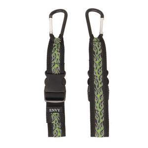 My Fave Jacket Strap in Green Flames - Front & Back Image