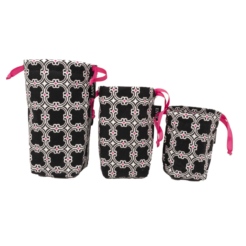 Camera Lens Bag - B&W with Pink Accents