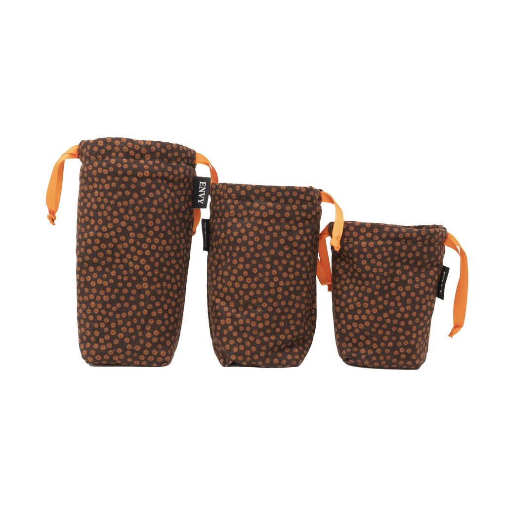 Camera Lens Bag - Brown Polka