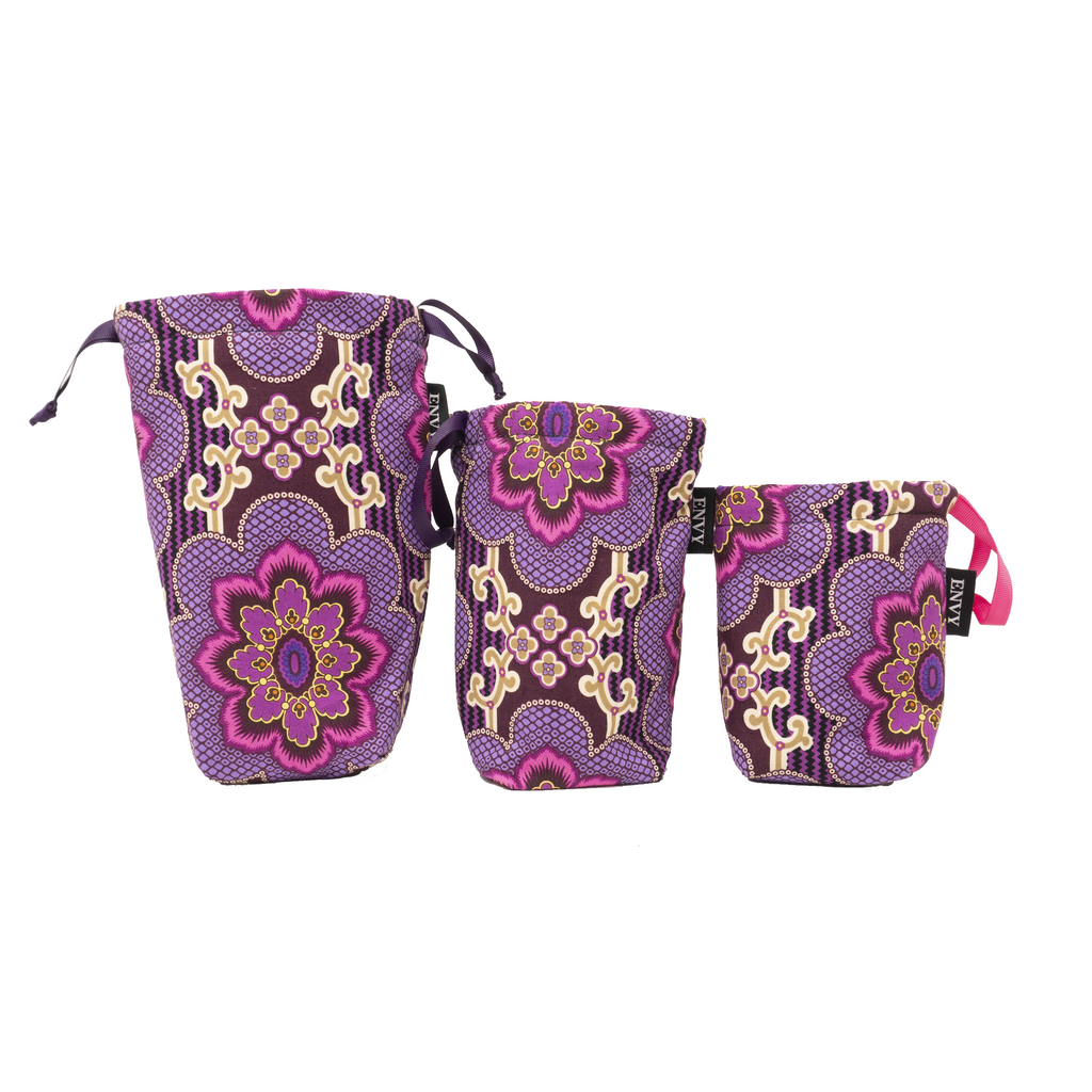 Camera Lens Bag - Purple Damask