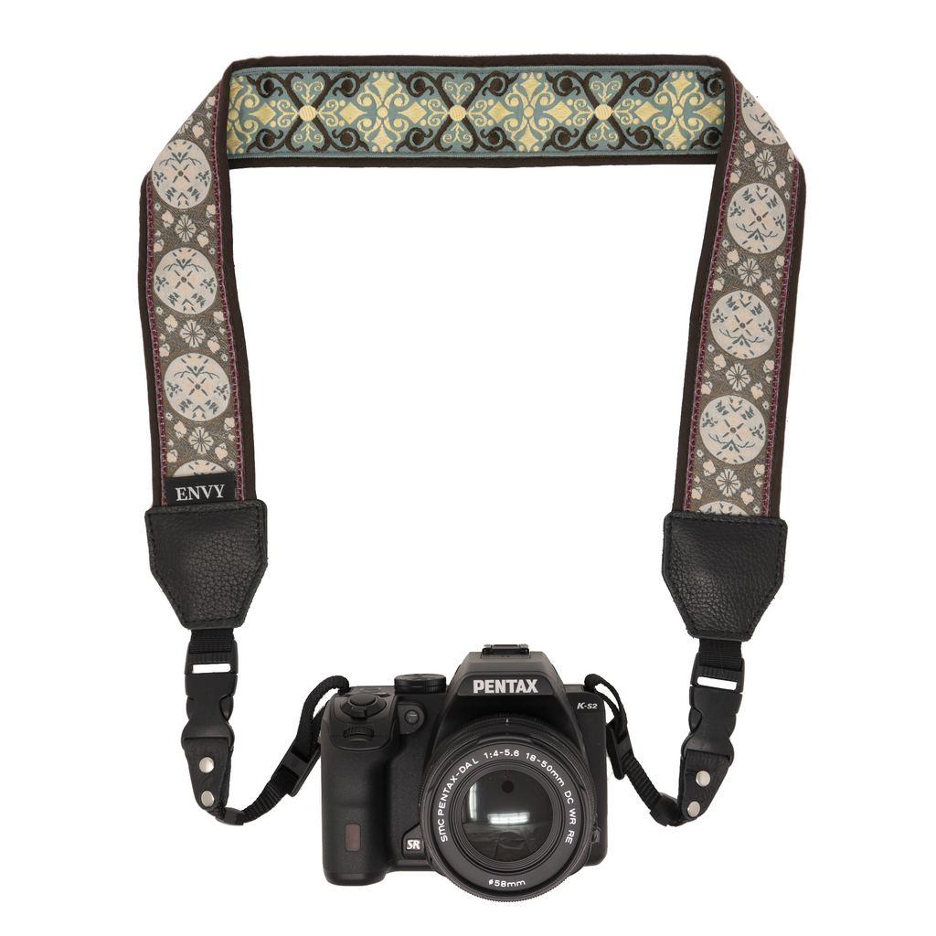 My Fave Camera Neck Strap - Reversible Camera Strap, Decorative Camera Strap - Pattern: At Peace, Color: Brown