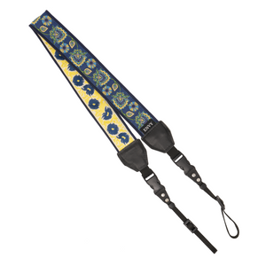 My Fave Camera Neck Strap - Decorative, Reversible Camera Strap - Pattern: Blue Blooms