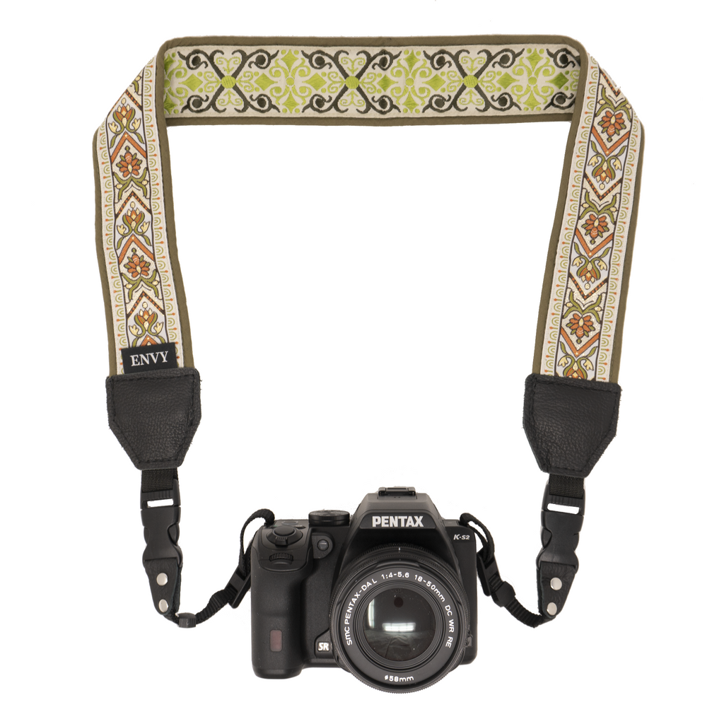 Camera Strap - Olive Flowers