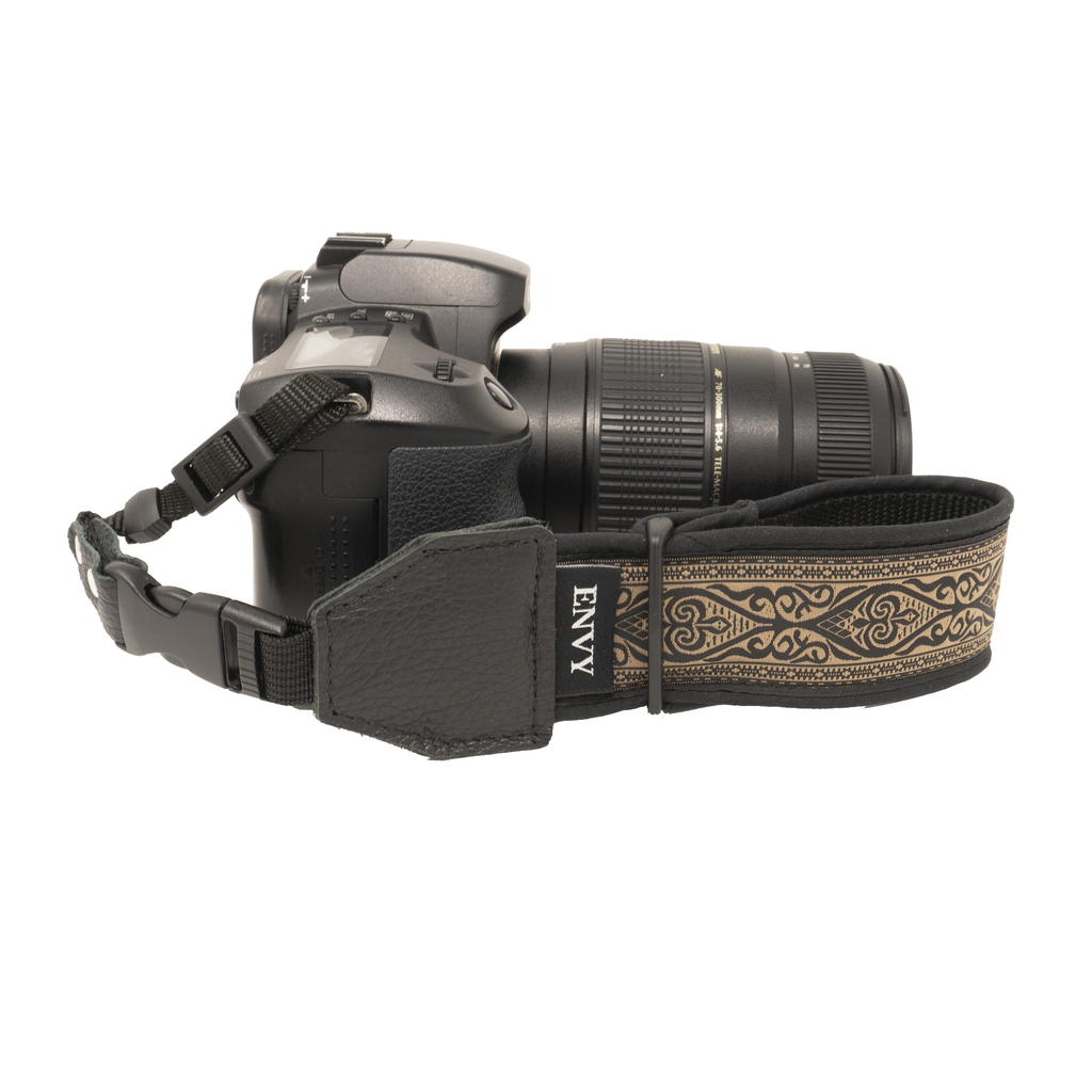 My Fave Camera Wrist Strap - Pattern: Driftwood Owl, Color: Black