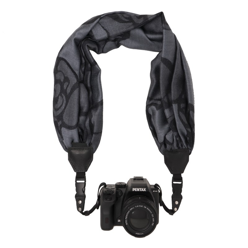My Fave Camera Scarf Strap in Black Blooms
