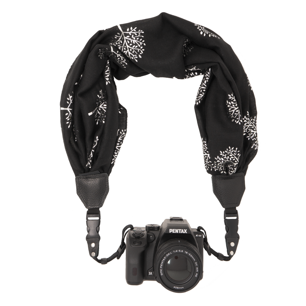 My Camera Scarf Strap in Black Silver Trees