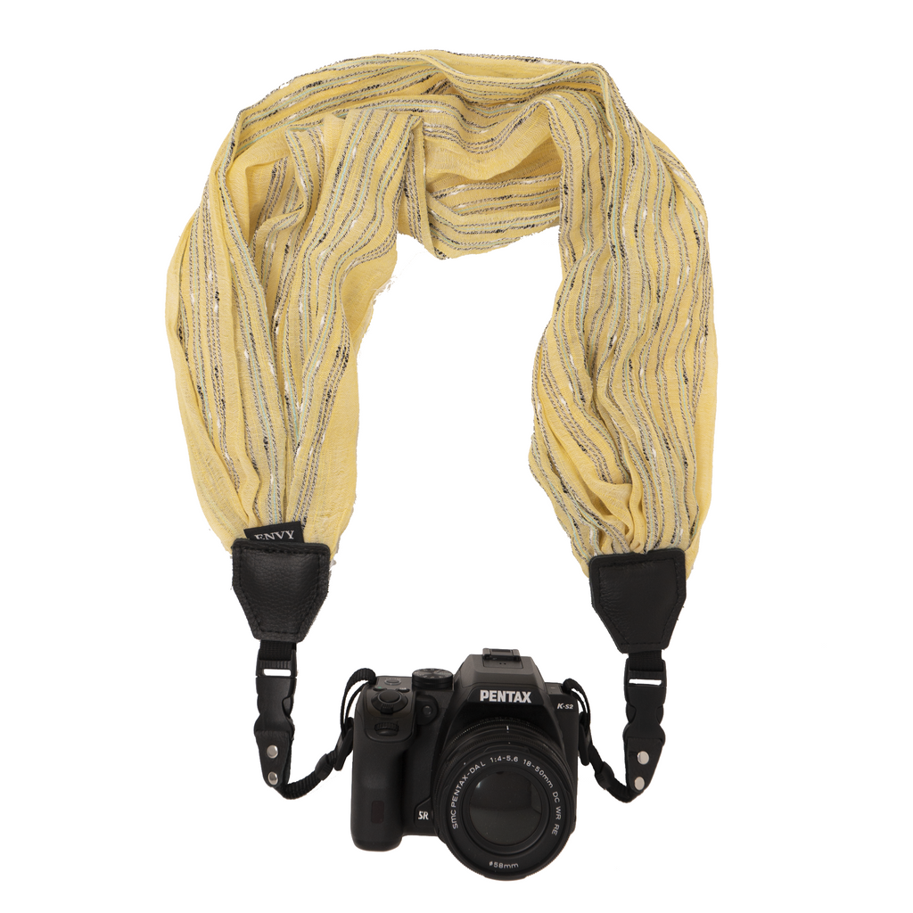 My Fave Camera Scarf Strap in Yellow Crinkle Stripes