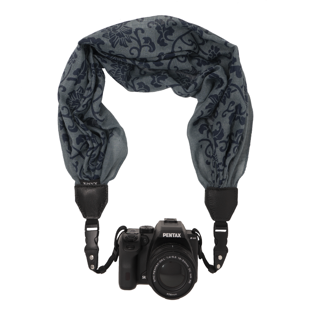 My Fave Camera Scarf Strap in Denim Bouquet