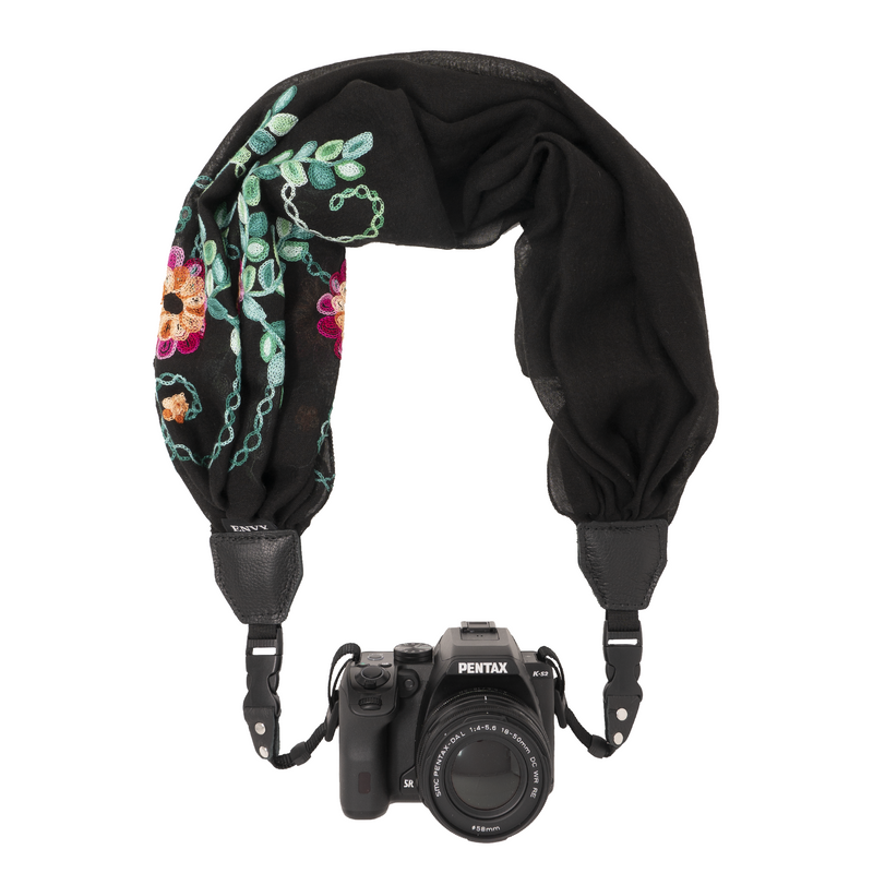 My Fave Camera Scarf Strap in Black Embroidered Multi Color Flowers