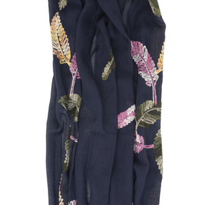 Scarf Strap for Sash Bags - Navy Embroidered Leaves