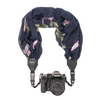 My Fave Camera Scarf Strap in Navy Embroidered Leaves