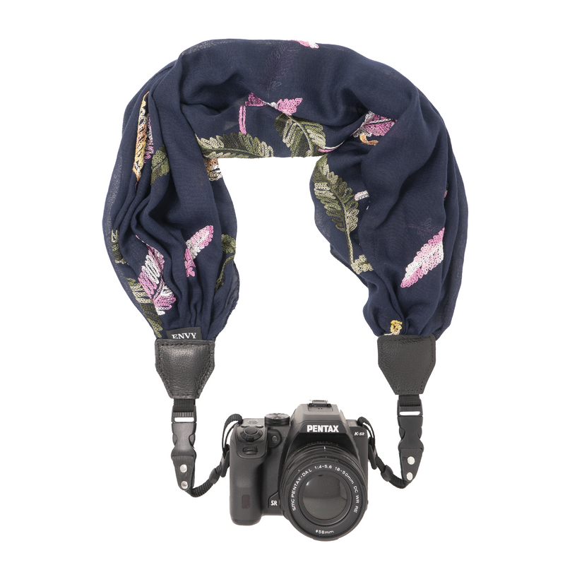 Camera Scarf Strap - Embroidered Leaves