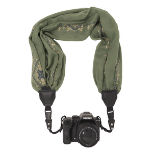 My Fave Camera Scarf Strap in Embroidered Sage Green