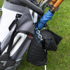 My Fave Jacket Strap holding a jacket on a golf bag