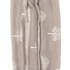 My Fave Yoga Mat Scarf Strap in Grey Silver Trees