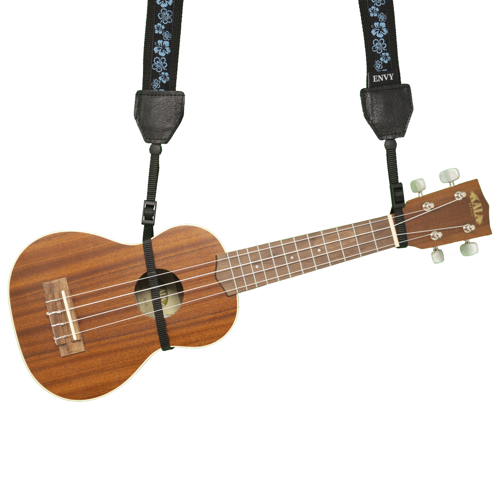 My Fave Ukulele Strap in Hibiscus II Blue