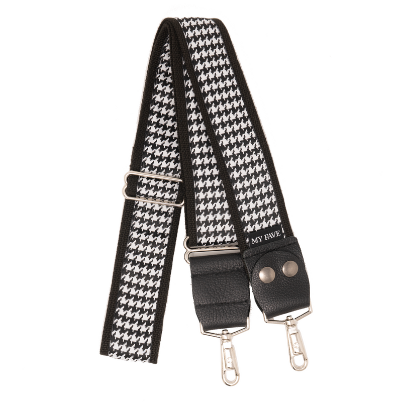 Designer Purse Strap - Black Houndstooth
