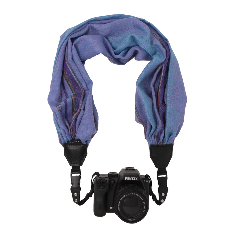 My Fave Camera Scarf Strap in Indigo Faded Lines Sample
