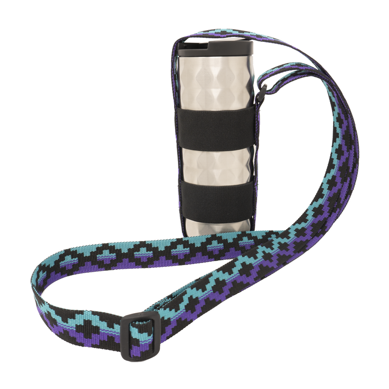 My Fave Water Bottle Strap - Purple & Teal Steps