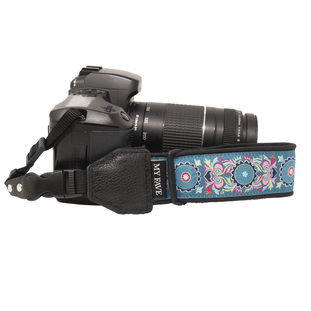Camera Wrist Strap - Teal Abstract