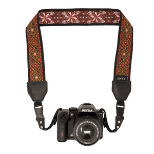 My Fave Camera Neck Strap in Wine & Gold Pattern