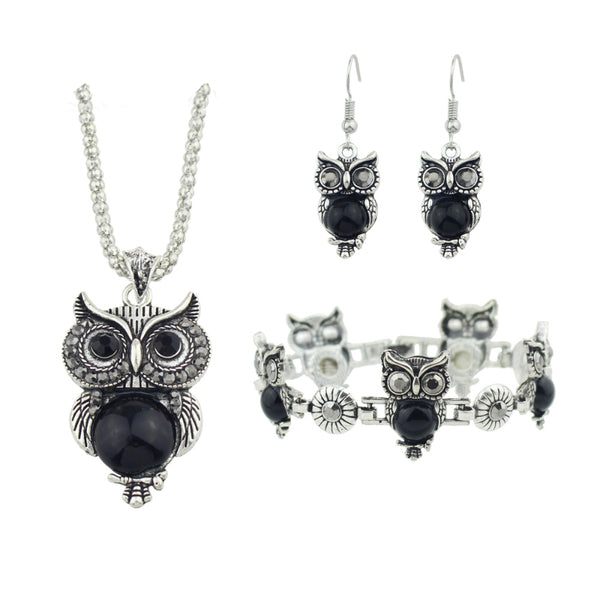 Owl Pendant Beads Jewelry Set - 2 Color Selection