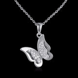 925 Sterling Silver Pendant Necklace Dancing Butterfly Clear CZ Pendants Necklace Fashion Jewelry for Women feminina